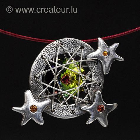 Anhänger Fireworks - Art Clay Silber und Swarovski Rivoli Element mit Zirkonia